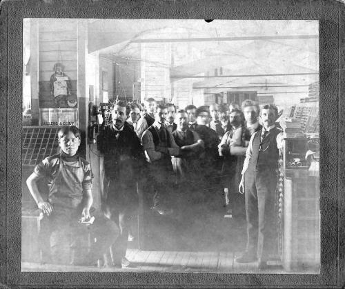 Printshop at Holland American newspaper, 1899Adrian Zuidweg 3rd from left; Lou Leeuwenhoek 5th from left