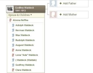 Godfrey Waldeck family treee