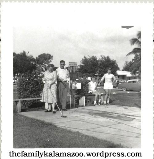 Grandma and Grandpa playing shuffleboard in Florida