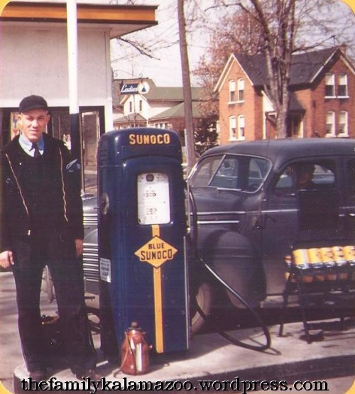 Grandpa by the pump at his Sunoco station
