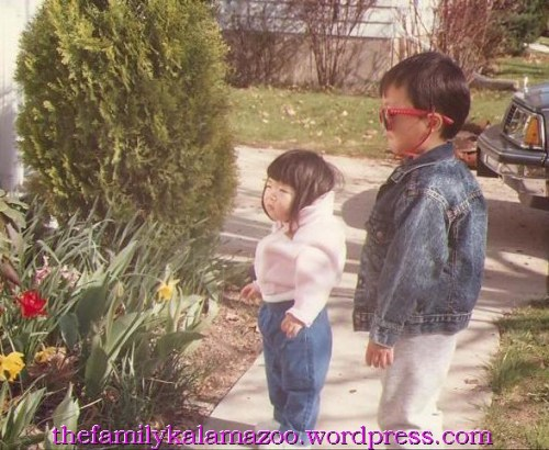 My own kids admiring their great-grandparents' flowers