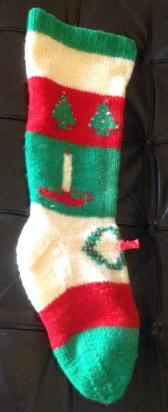 Christmas stocking knitted by Marge Sootsman Owens