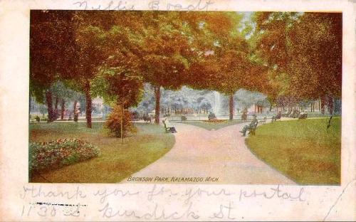 Bronson park front postcard