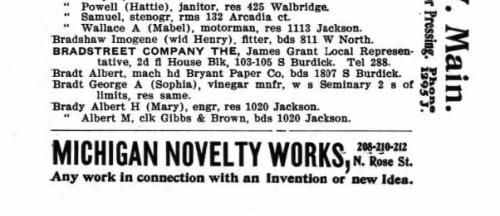 Nellie Bradt's parents 1905 city directory